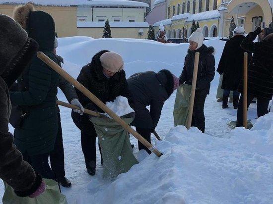 В Саратове учителей выгнали на мороз собирать снег в мешки